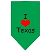 Mirage Pet Products I Heart Texas  Screen Print Bandana Emerald Green Large