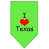 Mirage Pet Products I Heart Texas  Screen Print Bandana Lime Green Small
