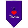 Mirage Pet Products I Heart Texas  Screen Print Bandana Purple Large