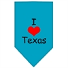 Mirage Pet Products I Heart Texas  Screen Print Bandana Turquoise Small