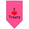 Mirage Pet Products I Heart Treats  Screen Print Bandana Bright Pink Small