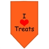 Mirage Pet Products I Heart Treats  Screen Print Bandana Orange Large