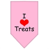Mirage Pet Products I Heart Treats  Screen Print Bandana Light Pink Small
