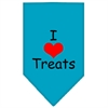 Mirage Pet Products I Heart Treats  Screen Print Bandana Turquoise Small
