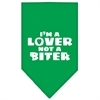 Mirage Pet Products I'm a Lover Not a Biter Screen Print Bandana Emerald Green Small