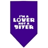 Mirage Pet Products I'm a Lover Not a Biter Screen Print Bandana Purple Large