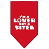 Mirage Pet Products I'm a Lover Not a Biter Screen Print Bandana Red Large