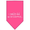 Mirage Pet Products I really did eat the Homework Screen Print Bandana Bright Pink Large