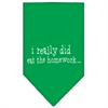 Mirage Pet Products I really did eat the Homework Screen Print Bandana Emerald Green Small