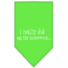 Mirage Pet Products I really did eat the Homework Screen Print Bandana Lime Green Small