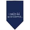 Mirage Pet Products I really did eat the Homework Screen Print Bandana Navy Blue large
