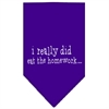 Mirage Pet Products I really did eat the Homework Screen Print Bandana Purple Large