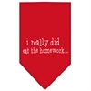 Mirage Pet Products I really did eat the Homework Screen Print Bandana Red Large