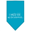 Mirage Pet Products I really did eat the Homework Screen Print Bandana Turquoise Large