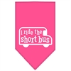 Mirage Pet Products I ride the short bus Screen Print Bandana Bright Pink Small