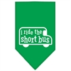 Mirage Pet Products I ride the short bus Screen Print Bandana Emerald Green Small