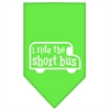 Mirage Pet Products I ride the short bus Screen Print Bandana Lime Green Small