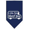 Mirage Pet Products I ride the short bus Screen Print Bandana Navy Blue Small