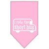 Mirage Pet Products I ride the short bus Screen Print Bandana Light Pink Large