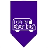 Mirage Pet Products I ride the short bus Screen Print Bandana Purple Small