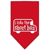 Mirage Pet Products I ride the short bus Screen Print Bandana Red Small
