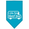 Mirage Pet Products I ride the short bus Screen Print Bandana Turquoise Small