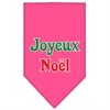 Mirage Pet Products Joyeux Noel Screen Print Bandana Bright Pink Large