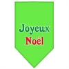 Mirage Pet Products Joyeux Noel Screen Print Bandana Lime Green Large