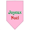 Mirage Pet Products Joyeux Noel Screen Print Bandana Light Pink Large