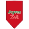 Mirage Pet Products Joyeux Noel Screen Print Bandana Red Small