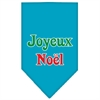 Mirage Pet Products Joyeux Noel Screen Print Bandana Turquoise Large