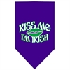 Mirage Pet Products Kiss me I'm Irish Screen Print Bandana Purple Large