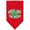 Mirage Pet Products Kiss me I'm Irish Screen Print Bandana Red Large