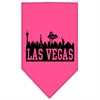 Mirage Pet Products Las Vegas Skyline Screen Print Bandana Bright Pink Small