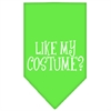Mirage Pet Products Like my costume? Screen Print Bandana Lime Green Large