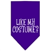 Mirage Pet Products Like my costume? Screen Print Bandana Purple Large