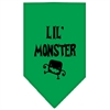 Mirage Pet Products Lil Monster  Screen Print Bandana Emerald Green Small