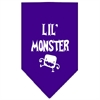 Mirage Pet Products Lil Monster  Screen Print Bandana Purple Large