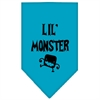 Mirage Pet Products Lil Monster  Screen Print Bandana Turquoise Large
