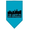 Mirage Pet Products Los Angeles Skyline Screen Print Bandana Turquoise Large