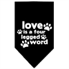 Mirage Pet Products Love is a Four Leg Word Screen Print Bandana Black Small