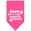 Mirage Pet Products Love is a Four Leg Word Screen Print Bandana Bright Pink Small