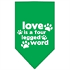 Mirage Pet Products Love is a Four Leg Word Screen Print Bandana Emerald Green Small