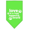 Mirage Pet Products Love is a Four Leg Word Screen Print Bandana Lime Green Large