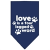 Mirage Pet Products Love is a Four Leg Word Screen Print Bandana Navy Blue large