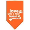 Mirage Pet Products Love is a Four Leg Word Screen Print Bandana Orange Small