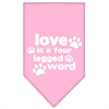 Mirage Pet Products Love is a Four Leg Word Screen Print Bandana Light Pink Small