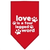 Mirage Pet Products Love is a Four Leg Word Screen Print Bandana Red Large