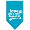 Mirage Pet Products Love is a Four Leg Word Screen Print Bandana Turquoise Large
