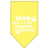 Mirage Pet Products Love is a Four Leg Word Screen Print Bandana Yellow Small